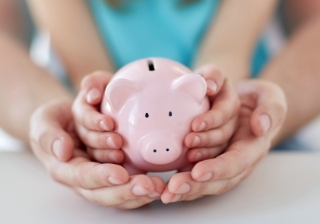 Mum family child save saving pig pension money