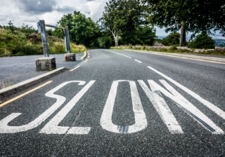 slow down road