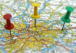 london map with pins