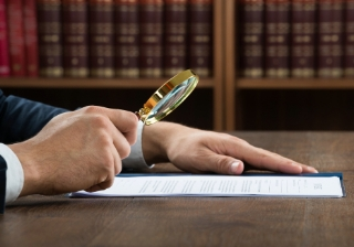 regulation magnifying glass legal paper