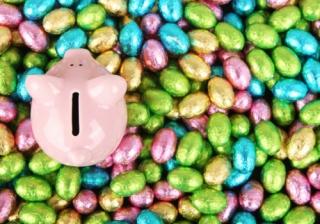 easter eggs piggy bank money