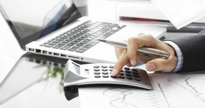 calculator paperwork business office work laptop