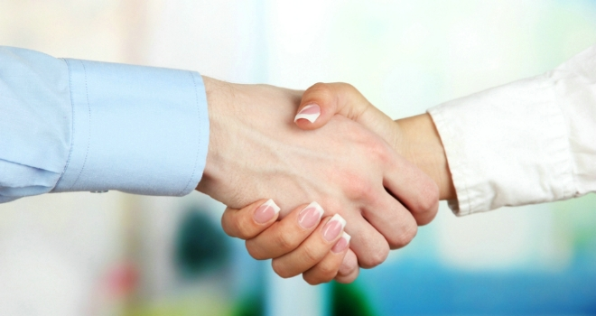 business handshake WITH A LADY