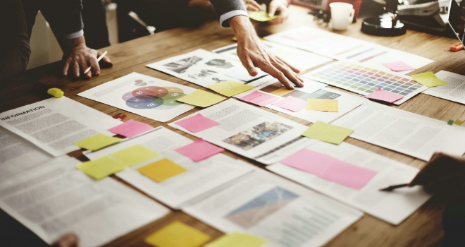 New product meeting business paper idea