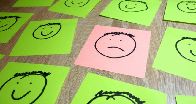 happy sad faces paper up down positive negative