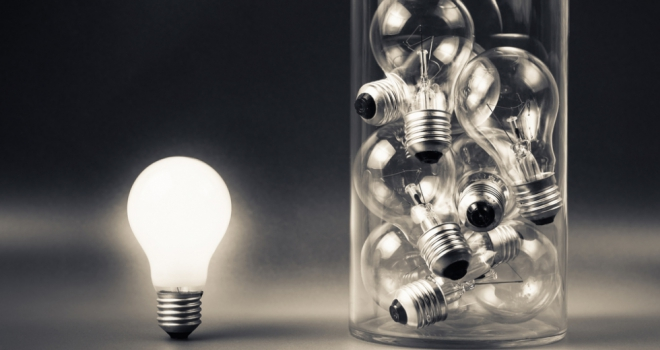 lightbulb different outside box idea new