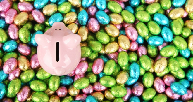 easter eggs piggy bank money